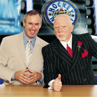 Ron MacLean (left) made his first guest appearance on the IllegalCurve.com Radio Show. (Picture courtesy of cbc.ca)