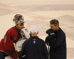 Pavelec talks to coaches