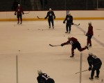 Zach Bogosian shoots in practice