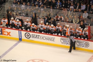 Flyers bench - Feb 12, 2013