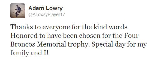 Adam Lowry tweet re; Award