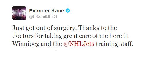Evaner Kane tweet re; surgery