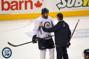 Bogosian talking to Coach Noel at practice