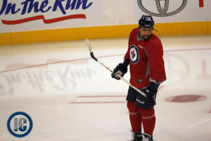 Dustin Byfuglien at practice