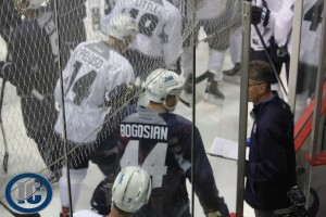 Coach Noel and Bogosian talking on Day 1 of Camp
