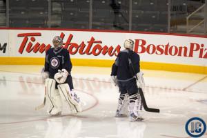 Pavelec & Montoya at practice