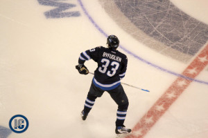 Winnipeg Jets Dustin Byfuglien at centre ice