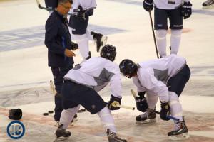 Slater and Scheifele practice faceoffs