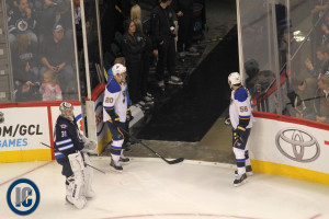 Steen and Paajarvi wait for stretcher