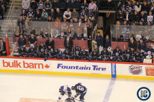 Jets bench vs. Blues (Dec. 10, 2013)