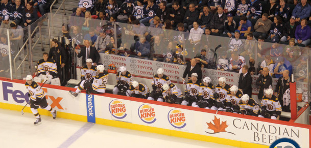 Bruins bench (April 10, 2014)
