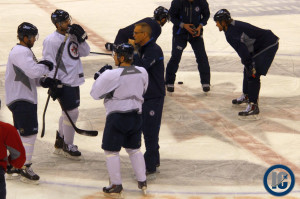 Coach Maurice on the ice