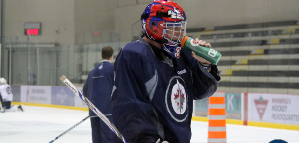 Connor Hellebuyck at Development Camp