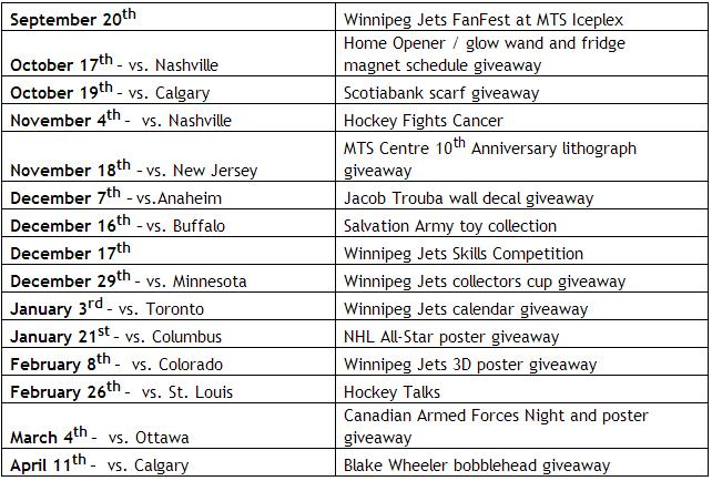 Jets 2014-15 promo schedule