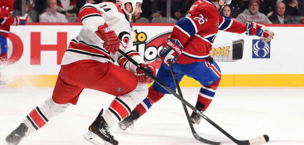 Jay Harrison #44, then of the Carolina Hurricanes, skates for position in the NHL game at the Bell Centre on December 16, 2014 in Montreal. (Photo by Francois Lacasse/NHLI via Getty Images)