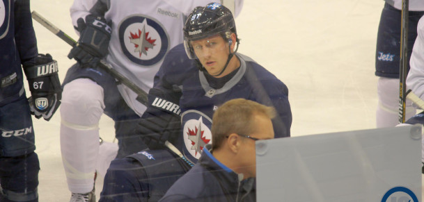 Tlusty at practice for drills
