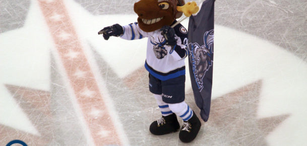 Mick E Moose in Manitoba Moose garb