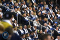 Crowd at MTS Centre wearing scarf